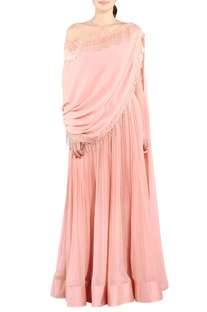 Rose pink tasseled drape gown