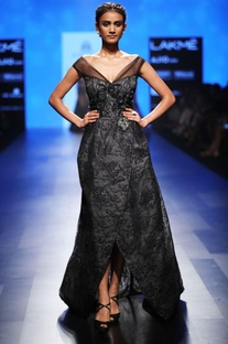 Black lace gown with train