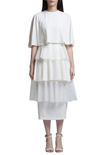 Ivory ruffled midi dress
