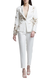 Ivory straight fit trousers