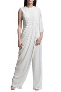 Ivory draped sari jumpsuit