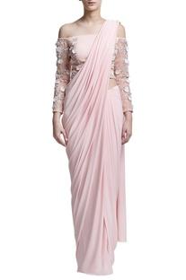 Blush pink sari with off-shoulder blouse