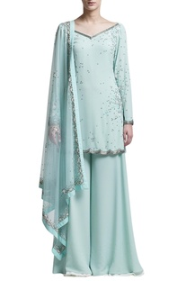 Mint blue embellished sharara set