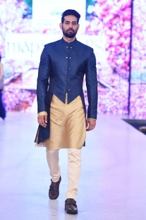 Navy blue cutout sherwani with kurta & churidar