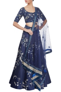 Midnight blue embellished lehenga set