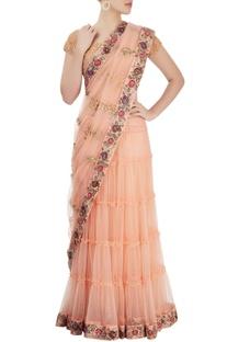 Beige embroidered sari