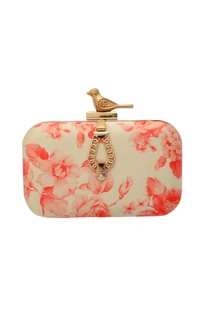 White and pink floral print clutch