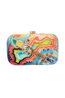 Abstract print box clutch