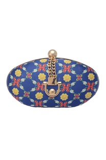 Blue oval clutch with floral print