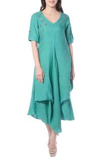 Turquoise draped tunic