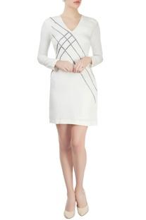 White cutdana embroidered dress