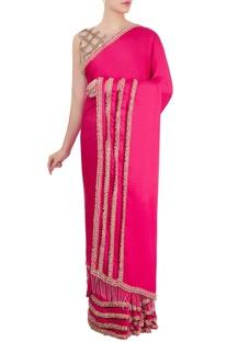 Pink cutwork sari