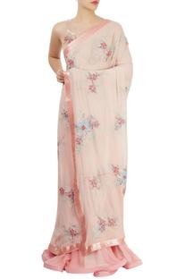 Peach & pink embroidered lehenga sari