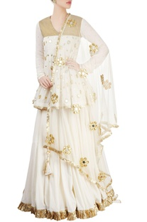 Gold & off white embroidered kurta lehenga