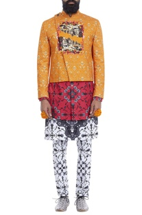 Orange printed short jacket