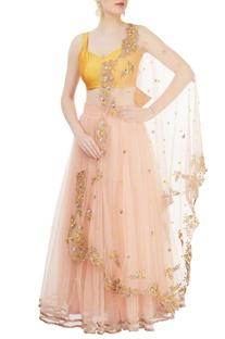 Yellow & pink embroidered lehenga set