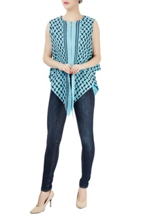 Sky blue embroidered tunic