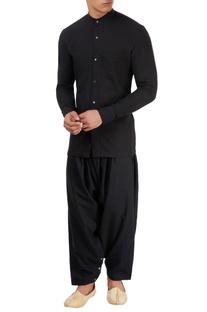 Black chinese collared shirt