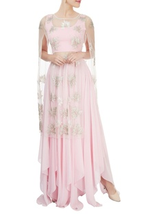 Baby pink crop top & skirt with embellished cape