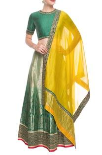 Emerald green silk lehenga set