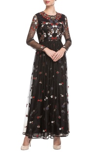 Black embroidered maxi