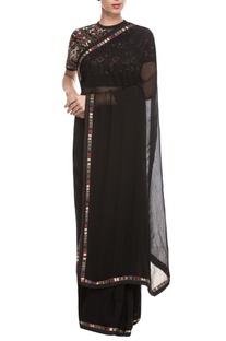 Black embroidered cape sari