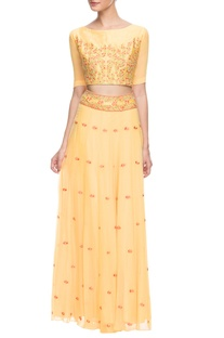 Pastel yellow embroidered lehenga set