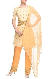 Yellow & peach cut out kurta set