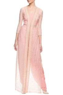 Peach embroidered dhoti set