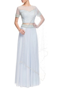 Powder blue embroidered skirt set