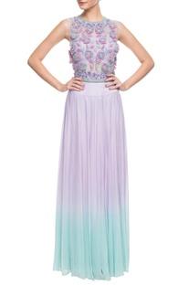 Lilac 3d floral embroidered skirt set