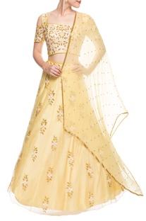 Yellow embroidered lehenga set
