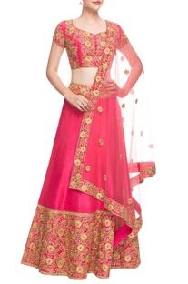 Hot pink embroidered lehenga set