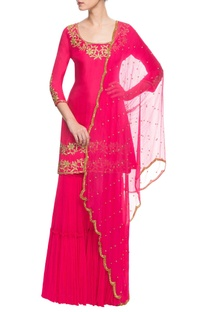 Hot pink embroidered sharara set