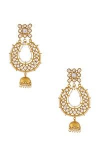 Gold & white beaded jhumkas