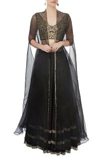 Black lehenga with blouse & jacket