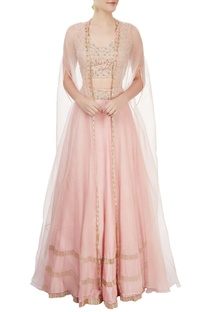 Peach lehengas with blouse & jacket