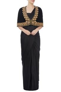 Black sari & blouse with cape