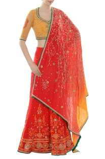 Red & yellow zardozi lehenga set