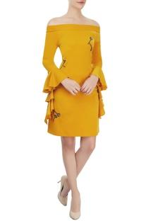 Mustard embellished off-shoulder dress