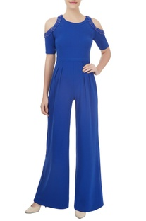 Royal blue cold shoulder jumpsuit with bead work and sequin detailing
