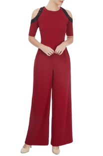 Marsala cold shoulder jumpsuit with bead work and sequin detailing