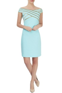 Sky blue body hugging dress with gold linear accents