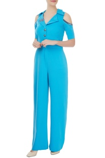 Petrol blue blazer jumpsuit with statement gold buttons