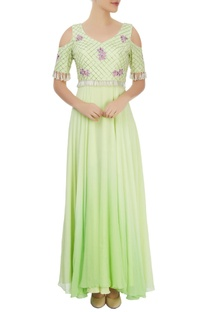 Lime green anarkali gown with florals and bead work