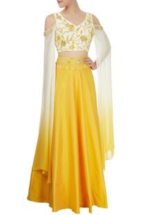 Ivory & yellow skirt & cold shoulder crop top set