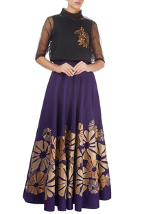 Purple skirt with gold tissue applique