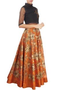 Orange skirt with gold tissue applique