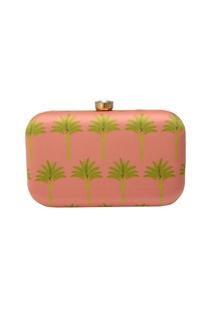 Pink clutch wit tree motif