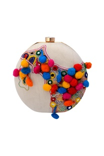 White clutch with colourful embroidery